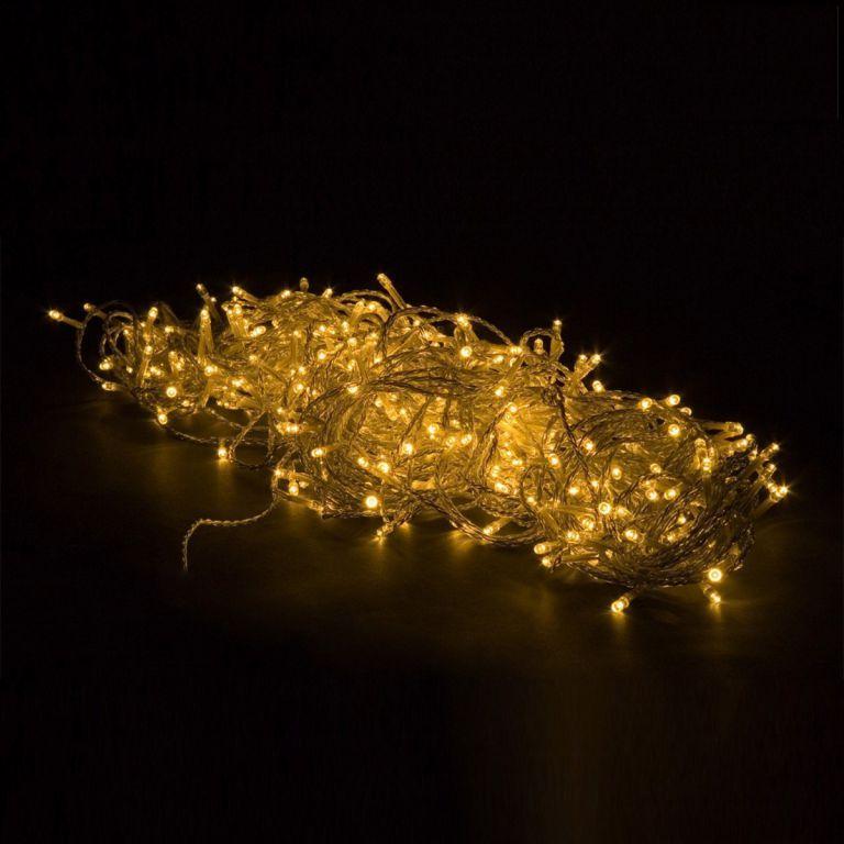 Světelný vánoční řetěz teple bílý, venkovní / vnitřní, 50 LED, 5 m, průhledný kabel