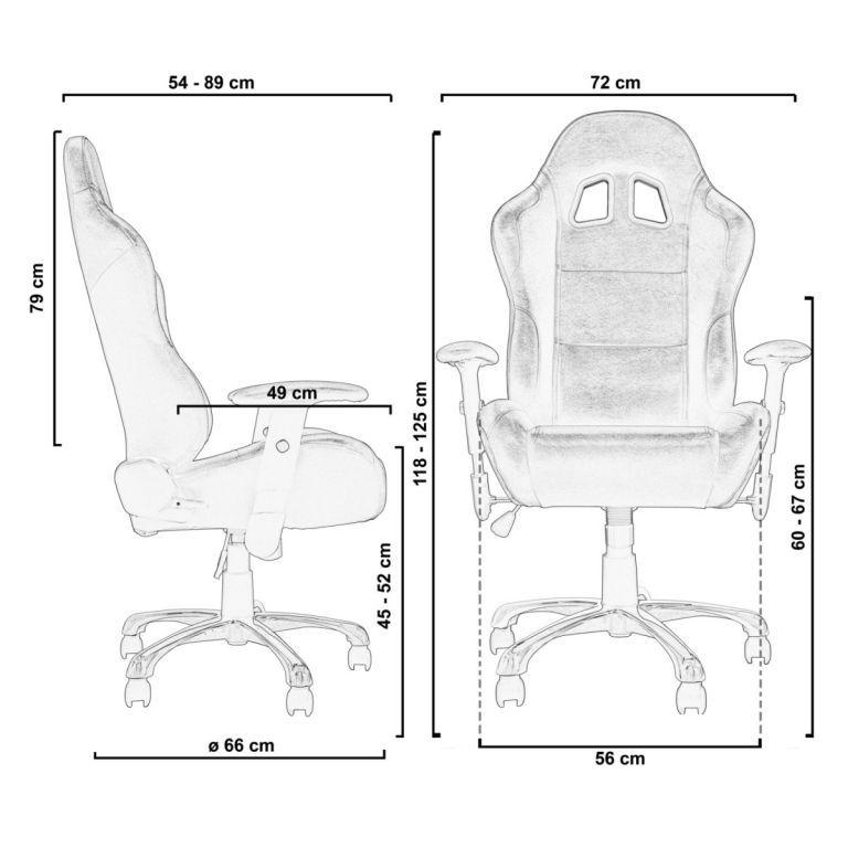 Designová židle na kolečkách, imitace závodní sedačky, černá