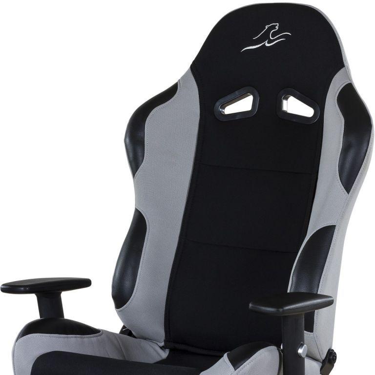 Designová židle na kolečkách, imitace závodní sedačky, černá / šedá