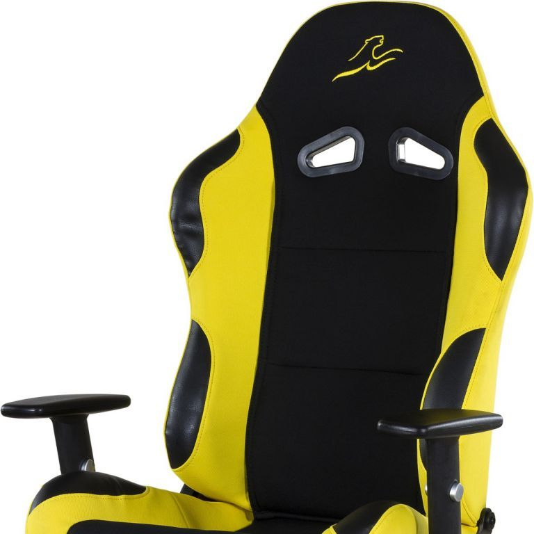 Designová židle na kolečkách, imitace závodní sedačky, černá / žlutá