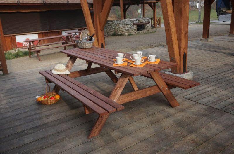 Zahradní set nábytku lavice+ stůl, impregnováno, 220 cm