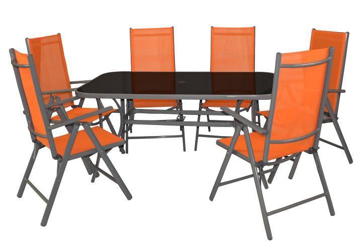 Zahradní hliníkový nábytek pro 6 osob, skládací židle, oranžový