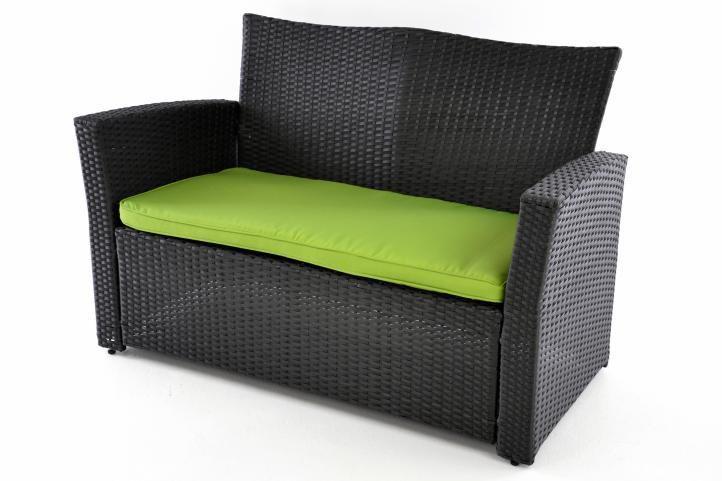 Designová sestava zahradního ratanového nábytku, černá / zelená