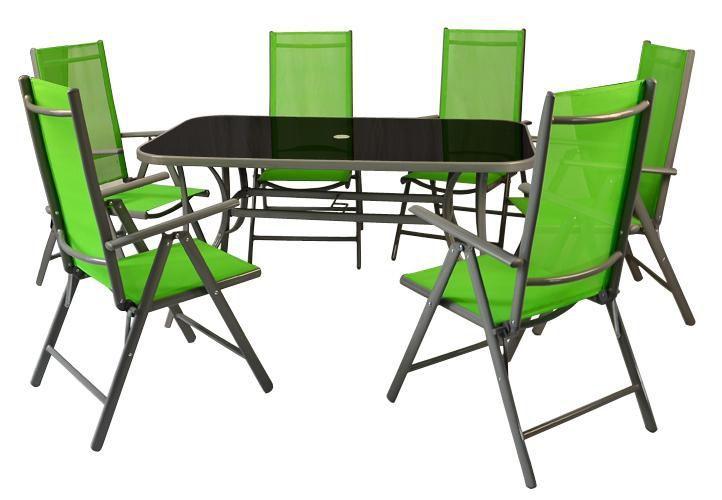 Zahradní hliníkový nábytek pro 6 osob, skládací židle, zelený