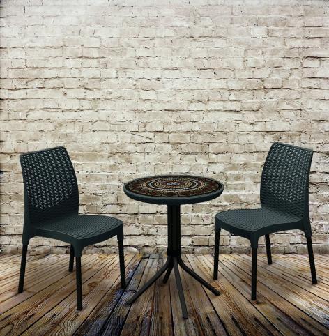 Balkonový nábytek pro 2 osoby, kulatý stolek, grafit