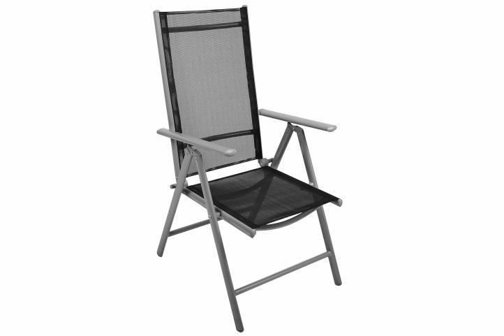 Set kovového venkovního nábytku, stolek se sklem, černá / šedá