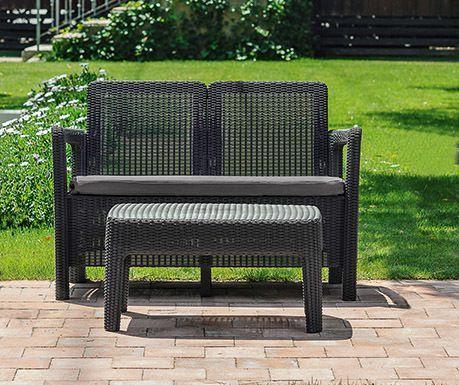 Set ratanového nábytku lavice + stolek, vč. polstrů, grafit