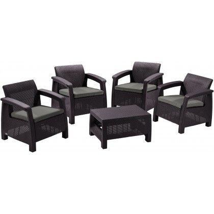 Ratanový venkovní nábytek 4 křesla + stolek, hnědý