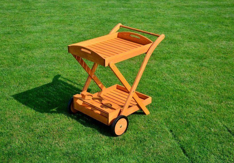 Menší dřevěný venkovní servírovací stolek, masivní dřevo