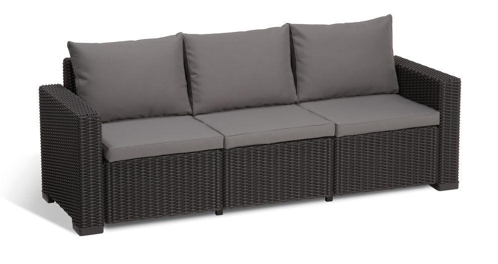 Venkovní ratanový nábytek s větší pohovkou a stolkem, antracit