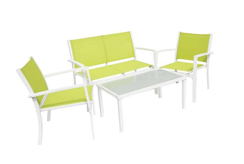 Kovový nábytek s textilním potahem, skleněný stůl, lemon