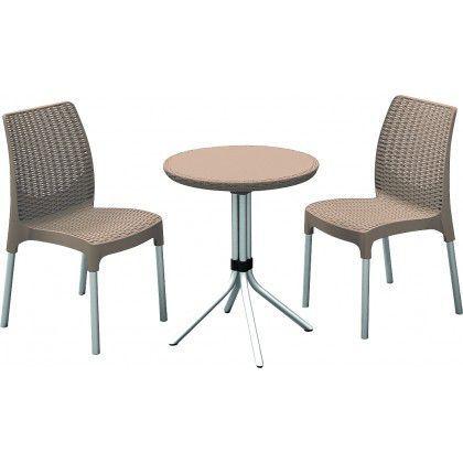 Balkonový nábytek pro 2 osoby s kulatým stolkem, cappuccino