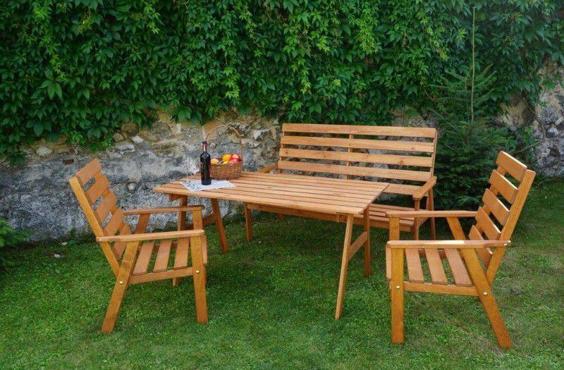 Dřevěná zahradní sestava nábytku, impregnováno