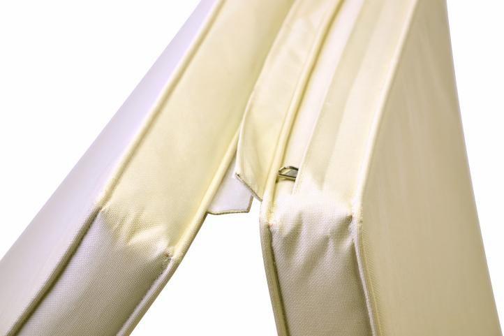 Luxusní skládací týkové lehátko s polstrováním, béžové