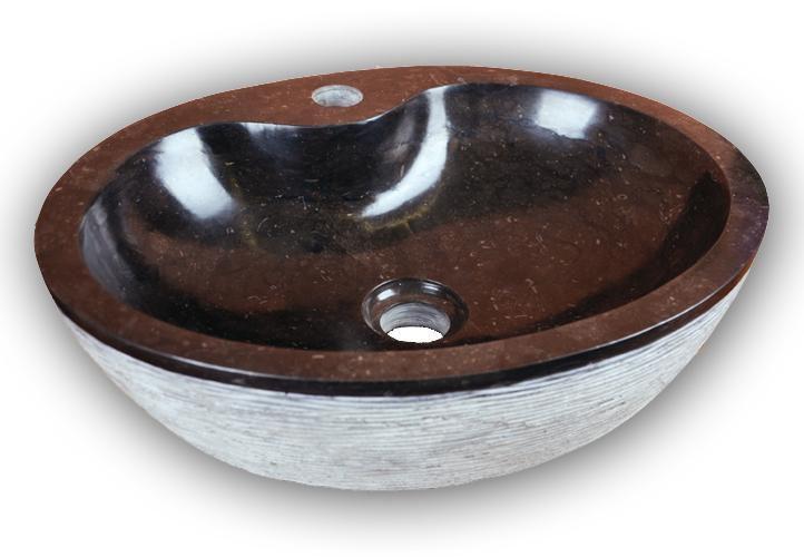 Kulaté kamenné umyvadlo do koupelny, přírodní mramor