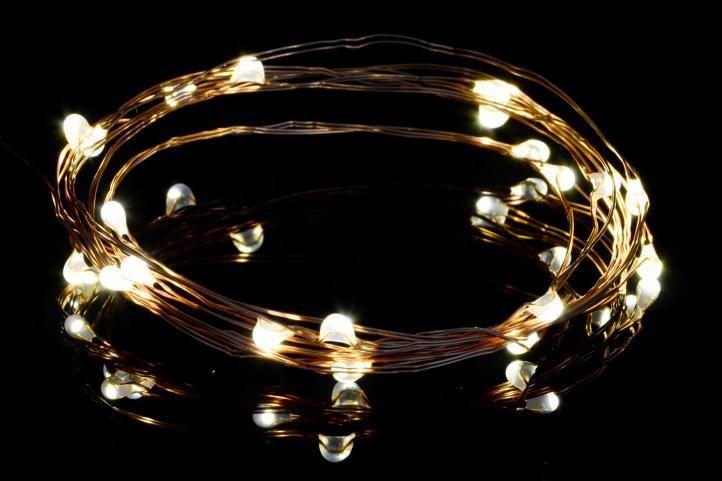 LED řetěz na baterie- vzhled pružiny, vnitřní, 10 LED, 1 m