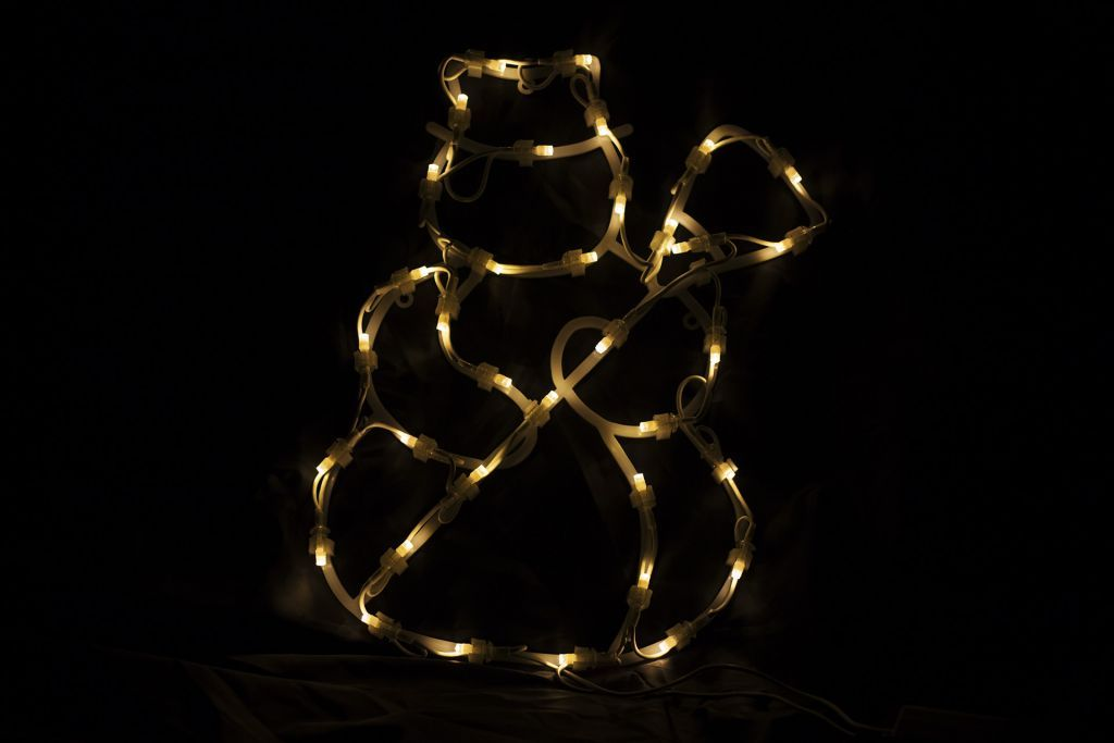 Vánoční dekorace k zavěení do bytu- svítící sněhulák, 30 cm