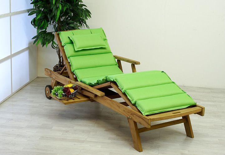 Luxusní dřevěné nastavitelné lehátko vč. polstrování, teak, zelené