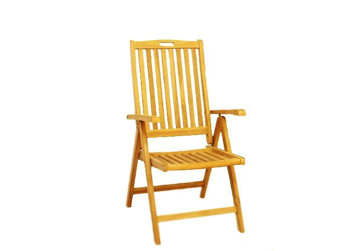 2 ks zahradní skládací židle z masivního dřeva, nastavitelné opěradlo