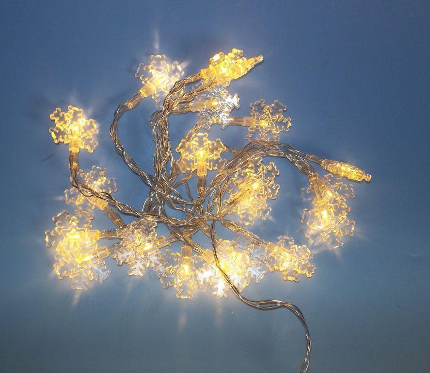 Vánoční LED řetěz vnitřní, sněhové vločky, na baterie, 2 m