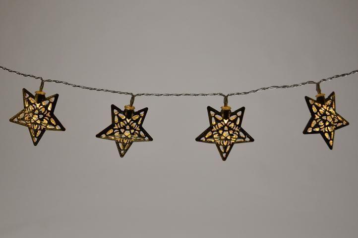 Vánoční LED řetěz vnitřní, svítící hvězdy, na baterie, 1 m