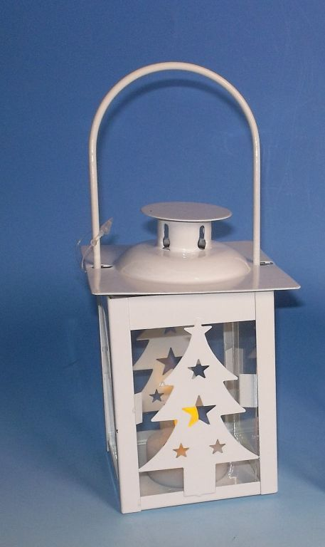 Kovová vánoční lucernička na baterie, bílá, 15,5 cm
