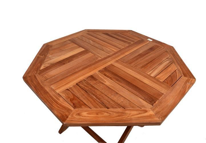 Dřevěný venkovní stůl osmiúhelníkový, teakové dřevo, průměr 100 cm