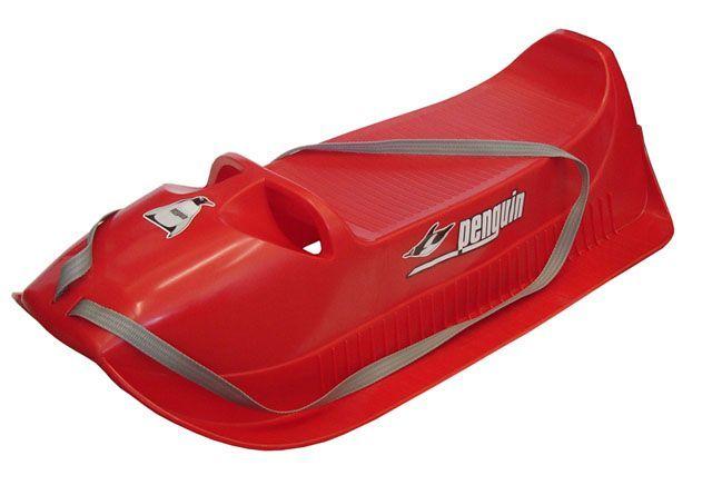 Plastové sáně pro menší děti, do 40 kg, červené