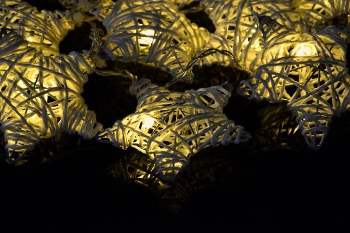 Vánoční LED řetěz- svítící hvězdy na baterie, vnitřní, 2,75 m