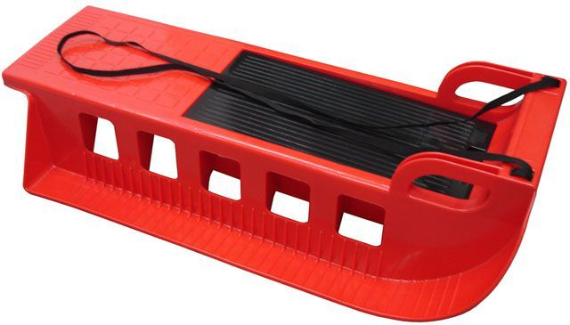 Dětské plastové sáňky s úložným prostorem, nosnost 50 kg, červené